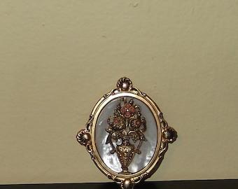Beautiful Vintage Mother of Pearl Flower basket Brooch Pin