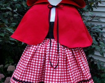 Little Red Riding Hood Costume and Cape, Little Red Riding Hood, Girls Halloween, Kids Costume, Halloween Costume, Halloween Dress Up, Dress