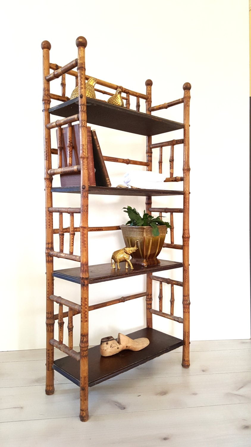 Reserved Antique Bamboo Bookshelf Bookcase Etagere 4 Tier