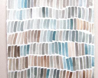 Geometric wall art/ Watercolor painting original/ Minimalist art/ Blue gray composition/ Geometric painting/ Home decoration pastel