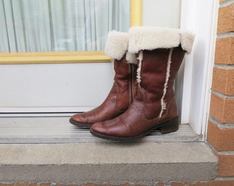 80s Italian  Shearling Boots Brown Genuine Leather with Wool Lining and Trim Winter Footwear for Women US Size 7 1/2 or EU 38