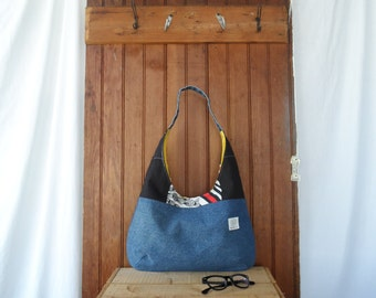 Hobo Purse - recycled denim, patchwork, yellow canvas bag, sack purse