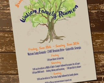 Family Reunion Invitation, Family Reunion Flyer, Family Tree Invitation,  Branch Out Invite,  Family Reunion Invitation Cards