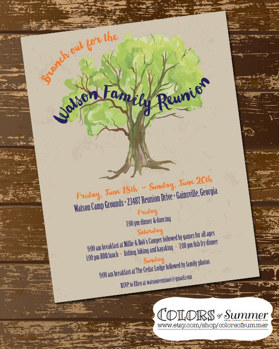 Toys For Family Reuion : Family reunion invitation flyer tree