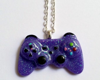 Purple Glitter Playstation Controller Necklace - Gamer Girl Nerdy Jewelry Geeky Jewelry Geeky Necklace Gamer Necklace Gamer Jewelry Nerdy