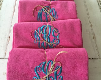 Monogrammed Beach Towels-Bridesmaids Gifts, Wedding Gift, Birthday-Available in 12 colors-Personalized Towels, Honeymoon Gift