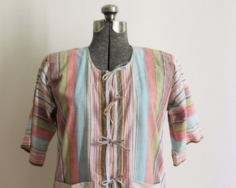 Pastel striped cotton short-sleeved festival shirt or beach cover up. Size S to M.