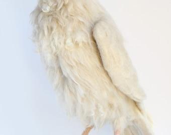 READY TO SHIP, Needle Felted White Raven, Leucistic Raven, Raven Sculpture, Large Raven Sculpture