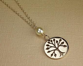 Gold tree of life necklace family tree family charm tree of life charm gold tree necklace with pearl family tree charm pearl necklace cream