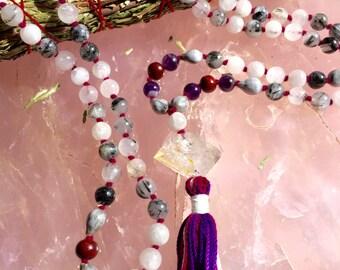 Rutilated Quartz, Amethyst, Herkimer Diamond Beaded Necklace