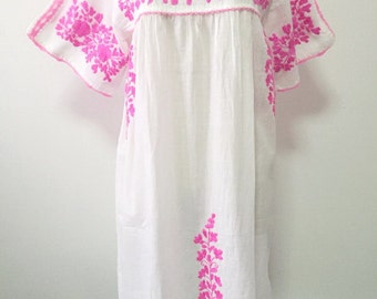Embroidered Mexican Dress Cotton Tunic In White, Oaxacan Dress, Peasant Dress, Boho Dress