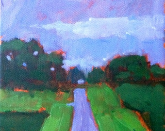 Green Fields.  6x6 acrylic on gallery wrapped canvas.