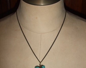 Vintage Faux Turquoise Beaded Cluster Necklace