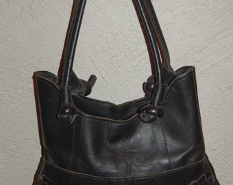 70's Structured Woven Leather Handbag