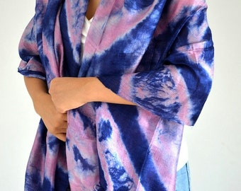 Women Blue Pink Tie Dye Scarf Silk Scarf Top Quality Handmade Multi Colored Scarf Wide Scarf Bohemian Scarf Mother Gift Scarf Shawl 30x71