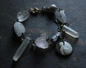 Gypsy necklace,Assemblage jewelry,assemblage necklace,bohemian bracelet,raw stone bracelet,chunky chain bracelet,swan jewelry,swan necklace