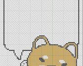 Shiba Inu  Thought Bubble Little Japanese Cross Stitch Easy 4 Colors PDF