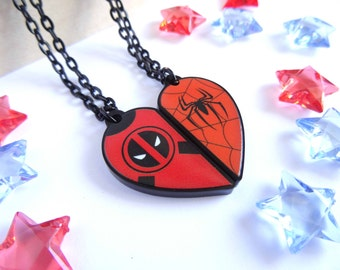 Deadpool and Spiderman BFF- Necklace Set