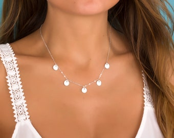 Disc necklace / Bridal necklace / Bridesmaid necklace / Sterling Silver necklace / Silver Disc necklace / Charm necklace / Wedding | Artemis
