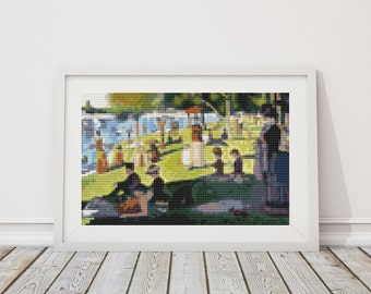 Mini Cross Stitch KIT, Printed CHART A Sunday Afternoon on the Island of La Grande Jatte by Georges Seurat