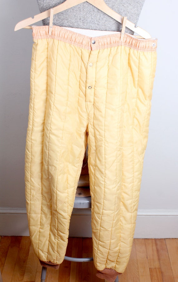 1960s Era Mens Nylon And Cotton Light Yellow Quilted Snow Pant