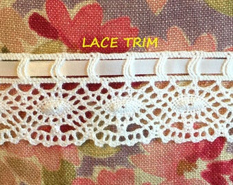 2 YARDS, WHITE 1-1/2 Inch, Flat Lace Sewing Edge Trim, Machine Crochet Ovals, Satin Ribbon, L270