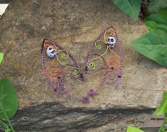 Elf Ear Cuffs - Spooky Skulls - Elven Jewelry - Halloween - Dark Elf Ear Wraps - Dark Fairy Vampire
