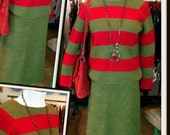 Vintage Green Red Stripe Knit Sweater Top and Skirt Set I Magnin FREE SHIPPING