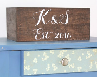 Custom Wedding Cards Box with Initials and Est Date - WS-211