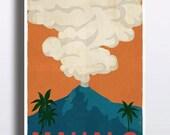 Vintage Hawaii Poster Retro Vintage Hawaiian Art Print Mahalo Volcano Rainbow Travel Poster Illustration Wall Decor Palm Trees