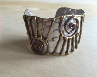 Mixed Metal Cuff Memphis Style