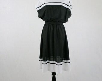 1970s Black White Polka Dot Dress Sears the Fashion Place