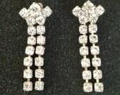 lovely rhinestone drop pierced earrings