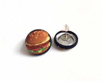 Burger and fries fabric button earrings