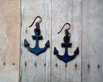 Navy blue anchor earrings with oxidized copper & hypoallergenic niobium ear wires
