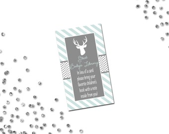 Book Request - Deer Baby Shower - Grey Mint and White Stripes - INSTANT DOWNLOAD - Printable