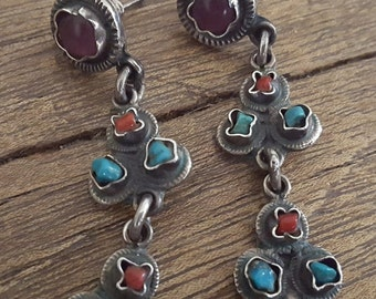 Vintage 1980s Sterling Matl Style Mexican Earrings Taxco