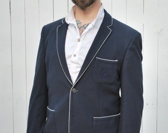 Classic Navy Crested Blazer w/ Grey Trim