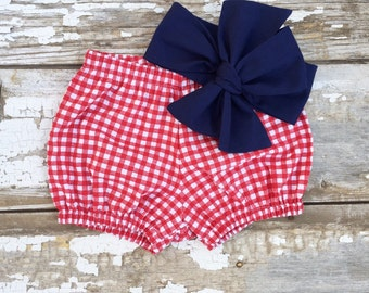 4th of July Baby Girl Outfit Fourth of July Headband Bloomer Set Red White and Blue America Headband Memorial Day Bow Baby Bubble Short
