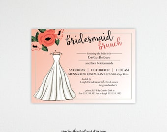 Bridesmaid Brunch Invitation, luncheon, bridal tea, bridal shower, tea party, dinner, peach, modern, digital, printable invite B101552