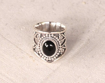 Natural Black Onyx Statement Ring, Solid Sterling Silver Ring, Silver Gemstone Rings, Personalized Boho Ring, Don Biu,