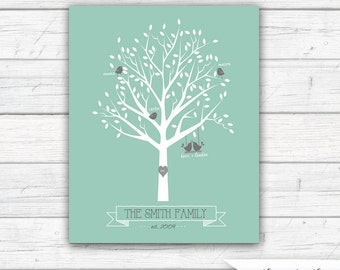 Printable Family Tree, Printable File, Personalized, Family Tree,  Wedding, New Baby, Anniversary, Mother's Day Gift, Art   - Printable