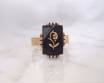 Antique Gold Ring - Victorian Rose Cut Diamond & Onyx Flower Ring - Size 8