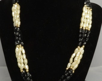 Freshwater Faux Pearls Black and White Set