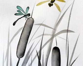 Sumi-e and watercolor dragonflies   - original inkwash painting
