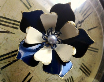 Navy Blue Enamel Flower Brooch Antiqued Layered Medium Sized Clematis Handmade from Brass Wedding Brooch Bouquet or Wear