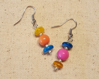 Colorful Asymmetrical Earrings - Colorful Earrings - Asymmetrical Earrings