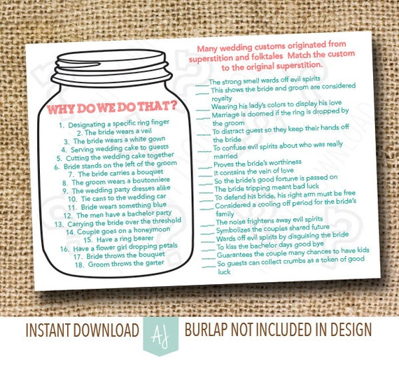 Instant Download Bridal Shower Game-- Why do we do that, Match the Customs-- Mason Jar Style-Customization NOT Included