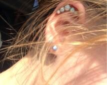 Fire & Snow Opal Tragus Helix Cartilage Stud- 16g