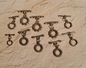 10 Sets Antique Silver Toggle Clasps - F-027